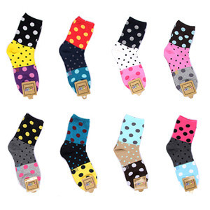 Sight Attract A043 Patchwork Dot Multicolour Fun Socks Women 34~39 Free Sizes