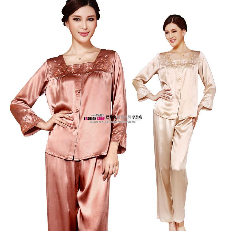 Silk mulberry silk sleepwear lounge women's embroidered long sleeve length pants sleep set 1227