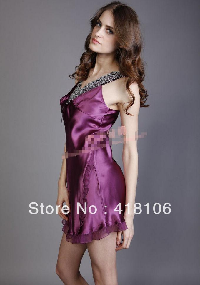 silk sleepwear mulberry silk robe spaghetti strap nightgown twinset female,sex silk robe