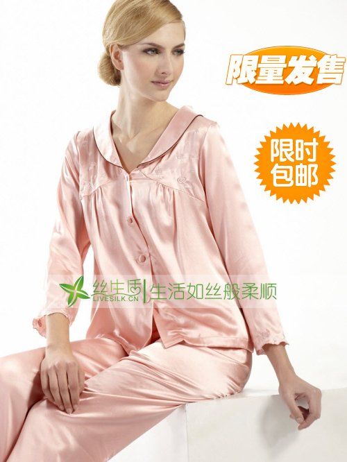 Silk sleepwear twinset female embroidered mulberry silk lounge long-sleeve sleepwear female silk