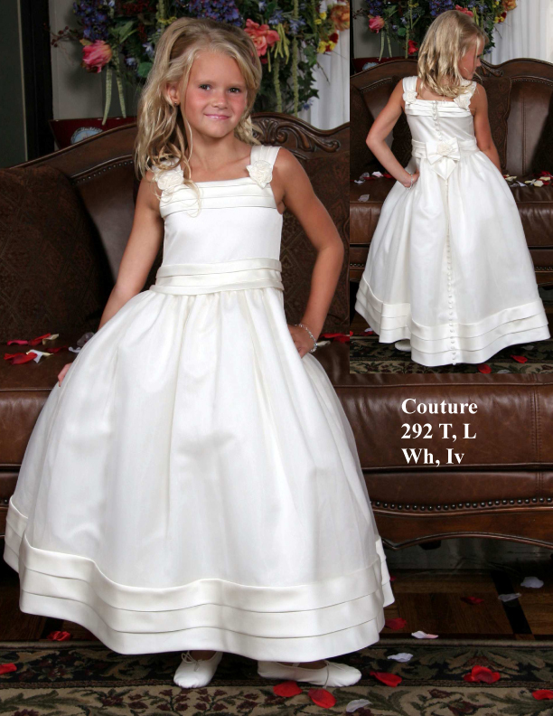 Simple A-line Sleeveless Floor Length Flowers And Bows Satin First Communion Dress