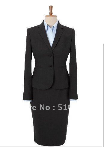 Single-Breasted 2 Button Wool women Suit and Women Dress four pieces gray women suit (jacket+vest+skirt+pants)
