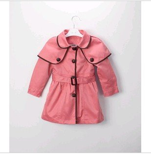 Single breasted Korean version Windbreaker children girl's pretty outerwear for spring and autumn