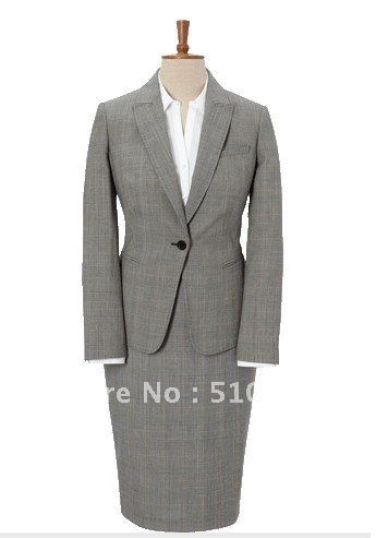 Single-Breasted one Button Wool women Suit and Women Dress three pieces light gray women suit (jacket+skirt+pants)