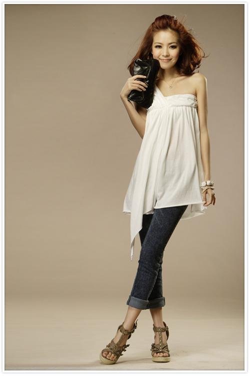 Single shoulder shirt skirt waist skirt with shoulder-straps nightclub field bandeau dress