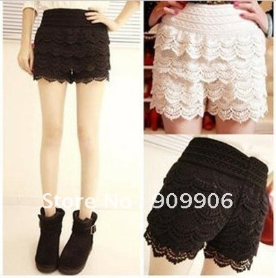 Skirt Fashion Womens Sweet Cute Crochet Tiered Lace Shorts Skorts Short Pants free shipping