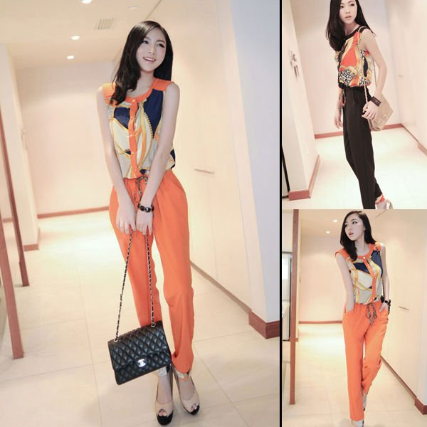 SLEEVELESS COLOR BLOCK PRINTED JUMPSUIT 2625