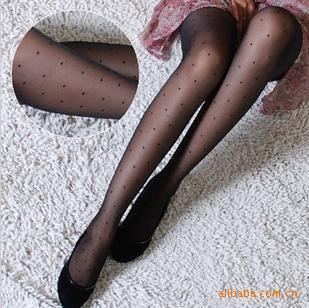 Slim Beauty dot tights jacquard Pantyhose Stockings Black