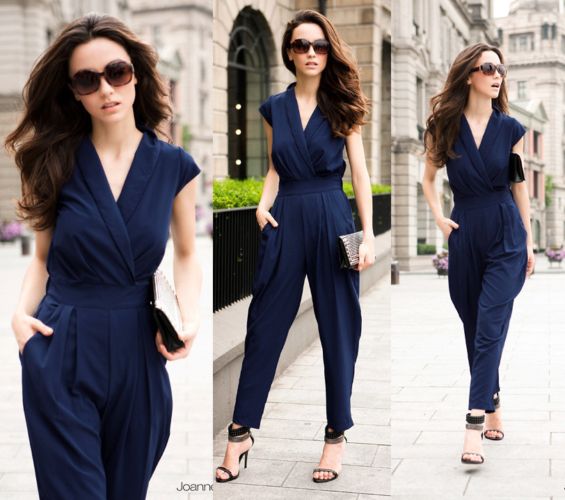Slim women fashion romper long jumpsuit sexy loose pants,3 colors black/red/deep blue,free shipping
