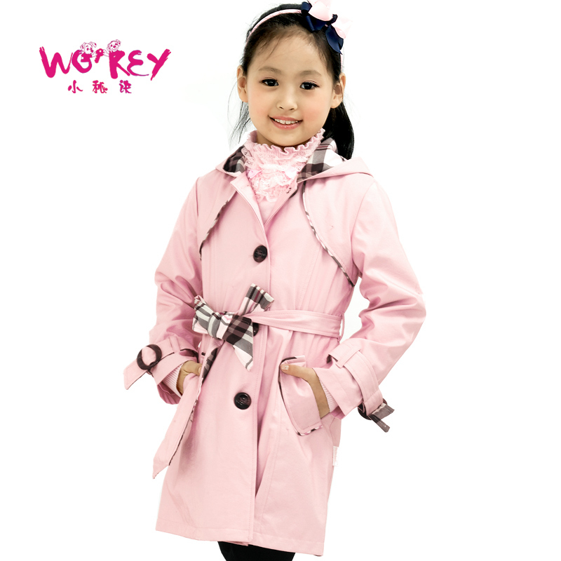 Small female child 2012 autumn outerwear medium-long trench f139