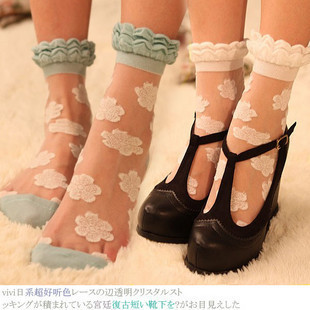 small lace transparent crystal yarn vintage short socks stockings pile of pile of socks