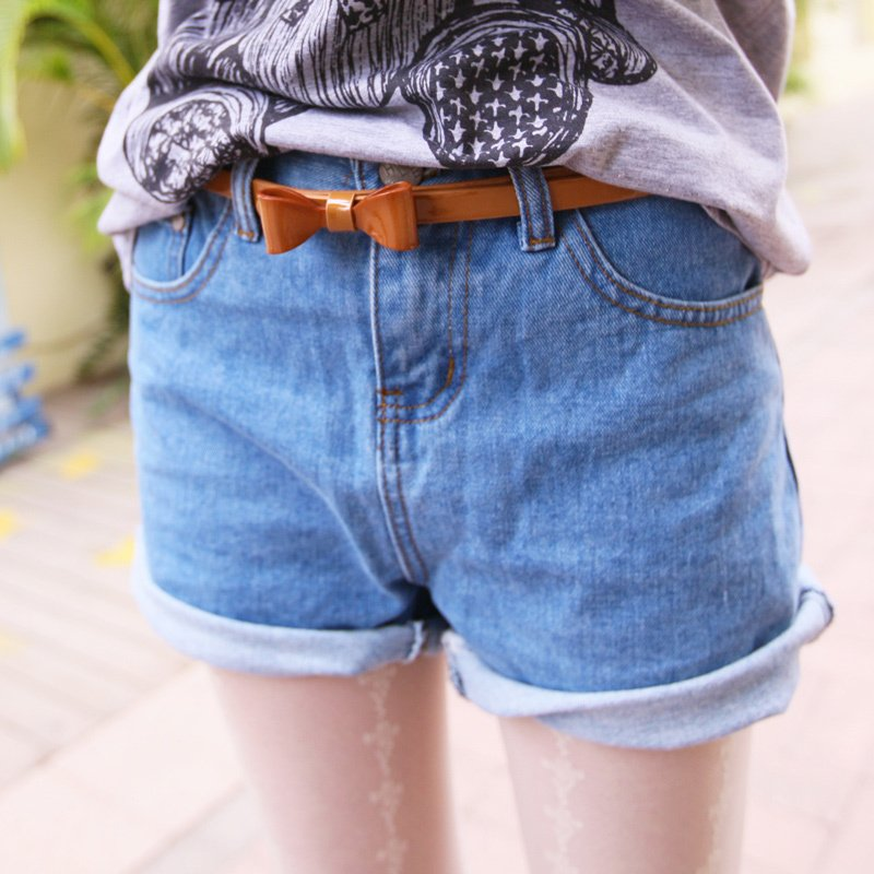 Small limited 2012 AMIO women's shorts street all-match roll-up hem straight denim shorts