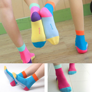 socks candy color polka  cotton knitted socks women 5pairs/lot Free Shipping