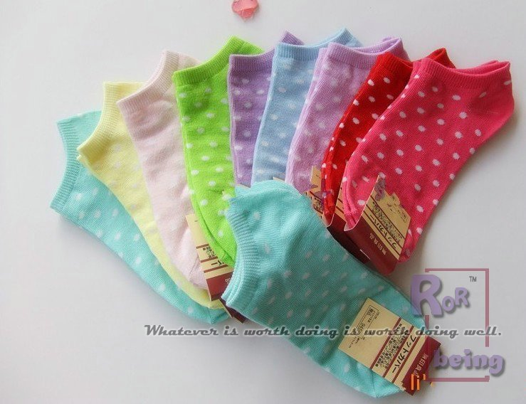 socks for woman, 20pcs/lot, many colors send at ramdon, spot/stripe/heart,wholesale, best price