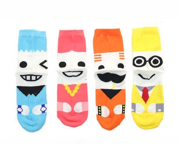 Socks lengthen edition lovers socks knee-high socks cartoon candy color socks