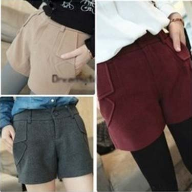 Solid Pockets Design Women Shorts 2012 Cheap Autumn/Winter Worsted S-L Fashion Hot Pants Boots Pant Black/Red/Gray/Khaki