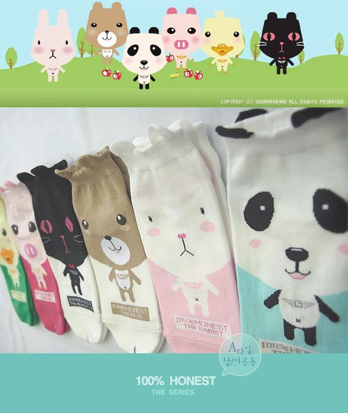 South Korea lovely creative stockings cartoon cat tiger pig cotton short MoChuan socks