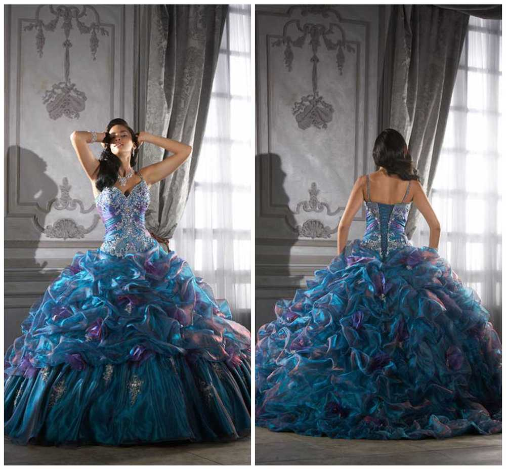 Sparkling elegant silver embroidered crystal beaded ruffle puffy ball gown blue purple lady's pageant quinceanera dresses AL033