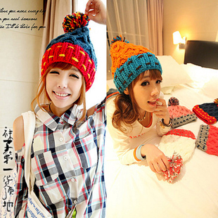 Sphere knitted hat autumn and winter fashion women's winter hat color block decoration knitted hat