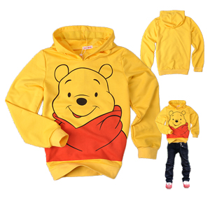 Spring 2012 children's clothing sweatshirt WINNIE baby 100% cotton long-sleeve sweatshirt t-shirt with a hood sweatshirt hoodie