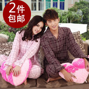 Spring and autumn plaid 100% cotton at home service lovers sleepwear long-sleeve sleepwear lounge