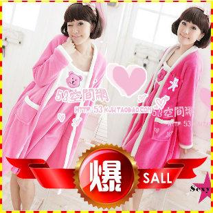 Spring and autumn sweet bear polar fleece fabric sleepwear twinset spaghetti strap women's nightgown robe