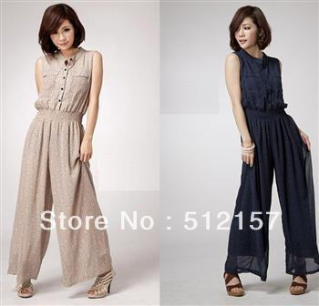 spring and summer of 2013 han edition dress little printed single-breasted chiffon jumpsuit nip-waisted jumpsuits jumpsuit