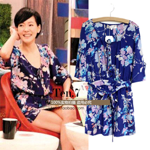 Spring and summer women's fashion flower pattern blue short-sleeve jumpsuit 3085