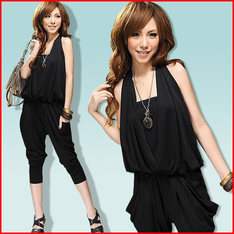 Spring harlan pants jumpsuit 2 Deign V-neck & Hanging neck style plus size jumpsuit FREE SHIPPING