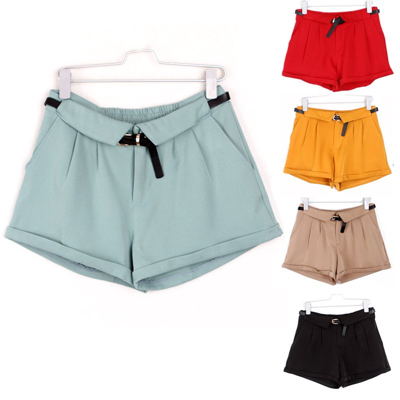 Spring vintage mid waist roll up hem shorts pants loose green khaki with belt