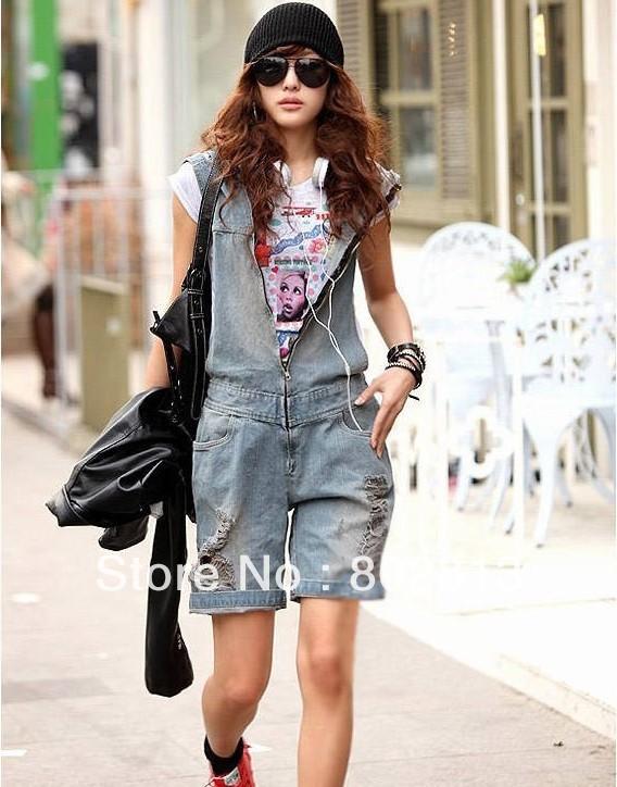 street fashion hooded jumpsuit retro finishing hole denim bib pants elastic waist knee-length pants  free shipping