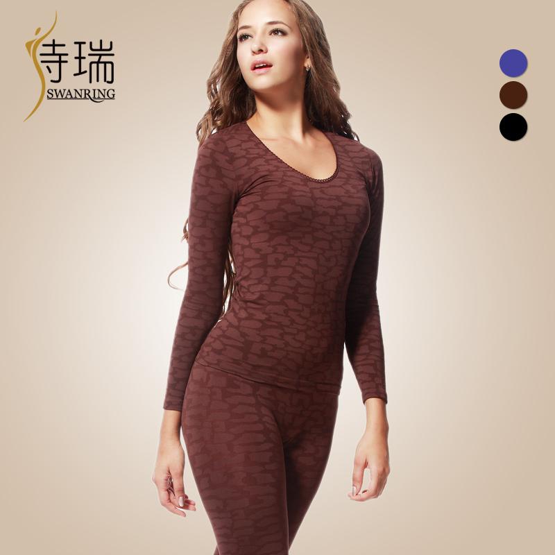 Strep elastic female body shaping thermal underwear set stone beauty care slim underwear female
