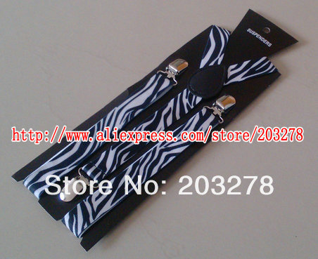stylish elastic braces clip On suspenders Plain zebra-stripe Mens Ladies Fancy Dress with paper card retail drop shipping