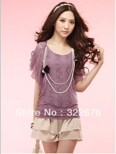 Stylish Women's Graceful Summer Layered Wave Pattern Stretch Waist Short Flouncing Cotton Pant Skirt Apricot JZ12091409