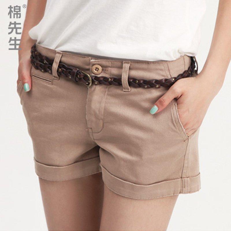 Summer casual water wash women's roll-up hem shorts female shorts x7623