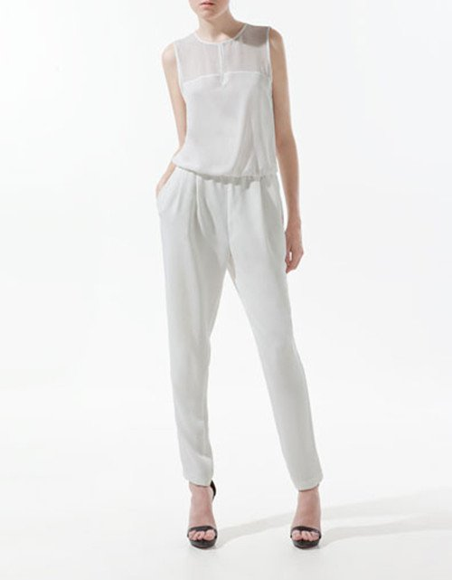 Summer Chiffon Fashion Jumpsuit Hollow Out Tank Sleeveless Overall Women's Ladies' Casual Jumpsuits Pants Rompers Cream Black