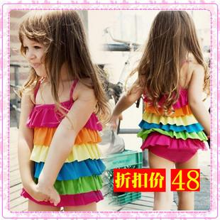 Summer child dress sun protection swimwear female child one piece set girl female big boy