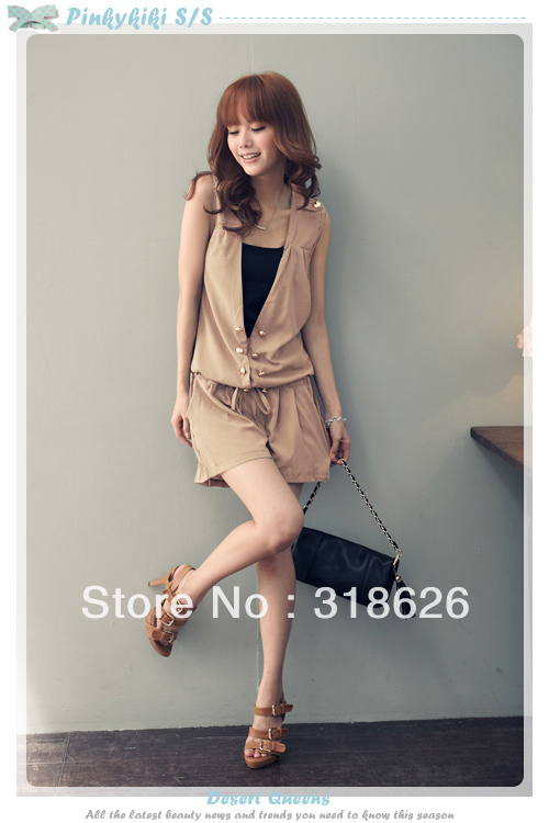 Summer Clothing New Explosion Models  Double Metal Buckle Sleeveless Shorts Rompers Free Shipping!