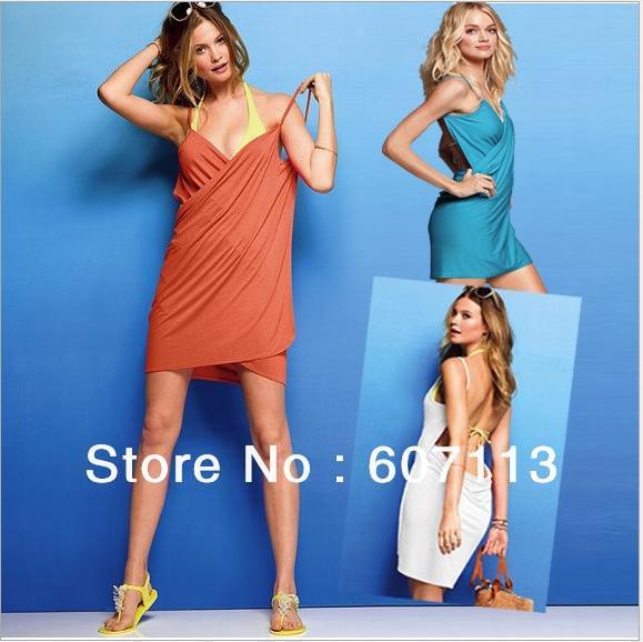 Summer deep V-neck Swimwear sun crossing Open-Back Front Swimsuits one pcs skirt Bikini Wrap beach dress sarong cover ups Criss