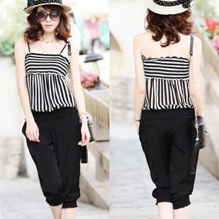 summer dress 2012 Stripe spaghetti strap  women jumpsuits for women