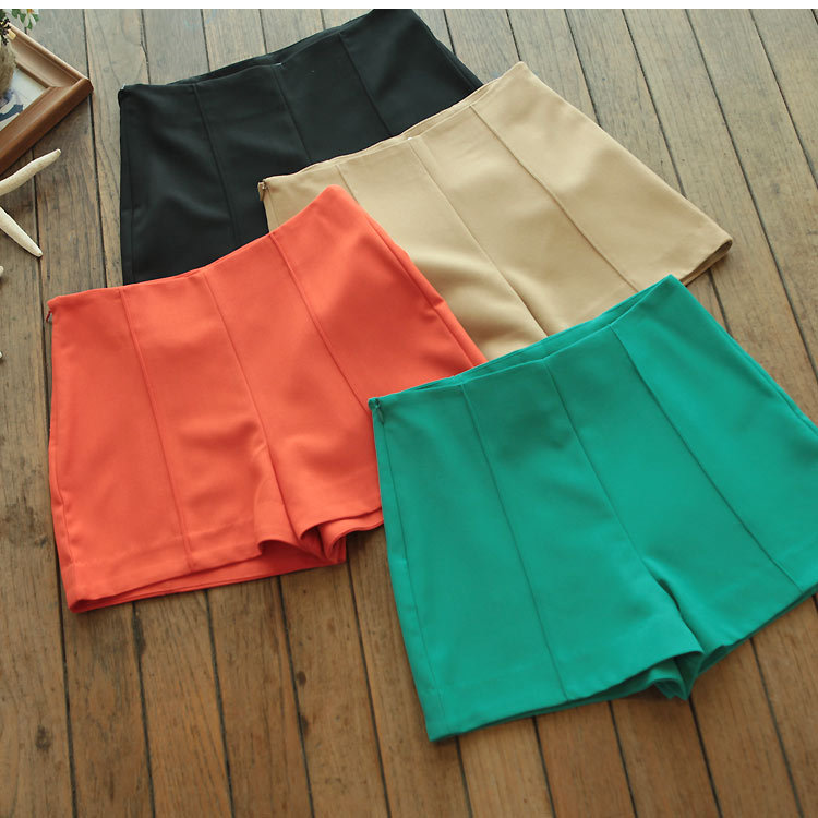 Summer fashion vintage plus size super shorts candy color high waist shorts culottes pantskirt for womens Lady female PL12061916