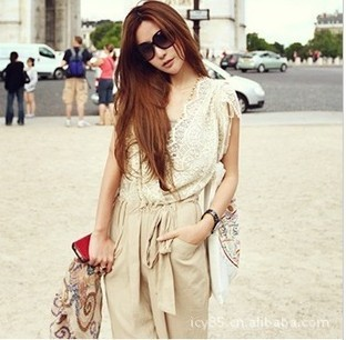 Summer Fashion Women Jumpsuit Overall Ladies' Casual Jumpsuits Black Pants Rompers White Lace Top Belt  adjustable waist