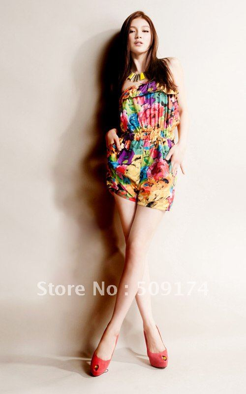 summer holiday!fashion ruffles floral prints jumpsuits /vintage style!