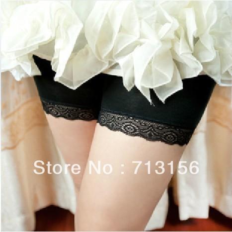 Summer lady exposed lace ice modal three shorts elastic backing safety pants pants