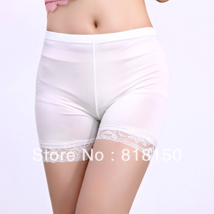 summer must-have super smooth ice silk three points exposed lace leggings pants safety prevention model body shorts hot pants