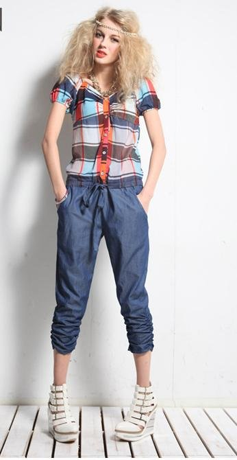 Summer new show thin personality tide in British grid CangLan haroun blasting pants pants of conjoined twins