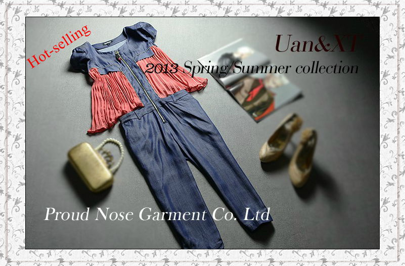 Summer New!!  Western Fashion Pleated Sleeveless Denim Jumpsuit Cropped Trousers For Women
