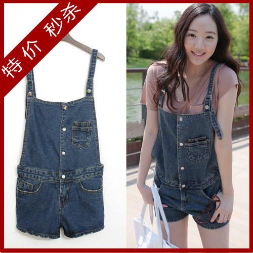 Summer plate denim suspenders jumpsuit shorts all-match denim shorts female wholesale