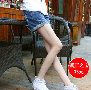 Summer roll-up hem hole casual loose plus size denim shorts mm shorts female trousers