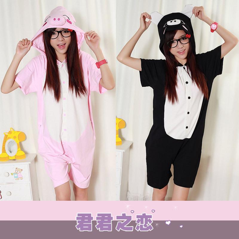 Summer short-sleeve 100% cotton cartoon pig sleepwear one piece women's male lovers lounge home dress cartoon pajamas